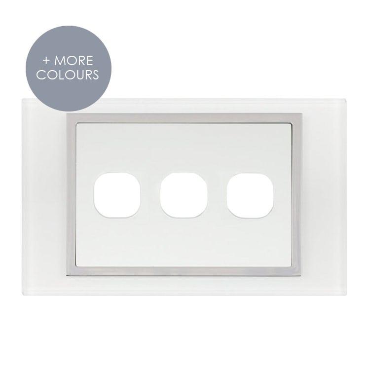 Data Plate AU white 3 hole   Luminosa by Bella Lujo