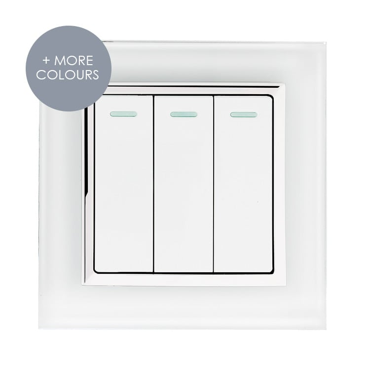 VE WH LS3 European Style Glass Light Switch