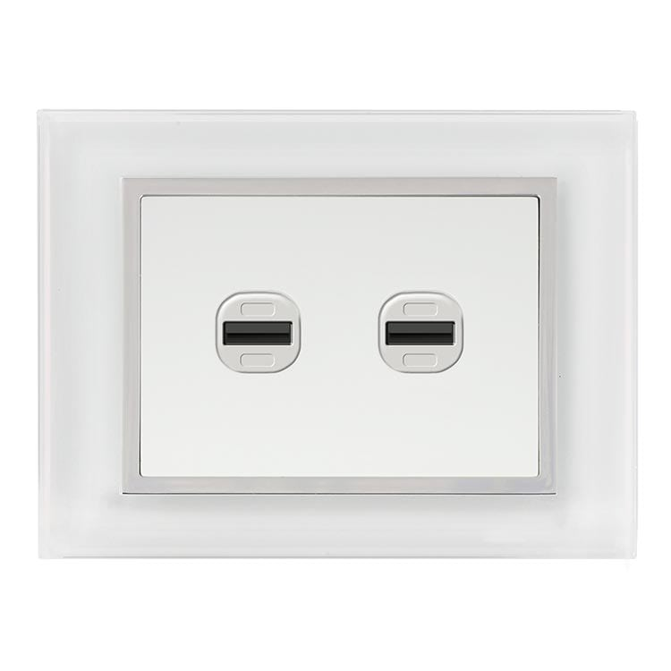EU White glass USB charger 2 holes: Luminosa by bella Lujo